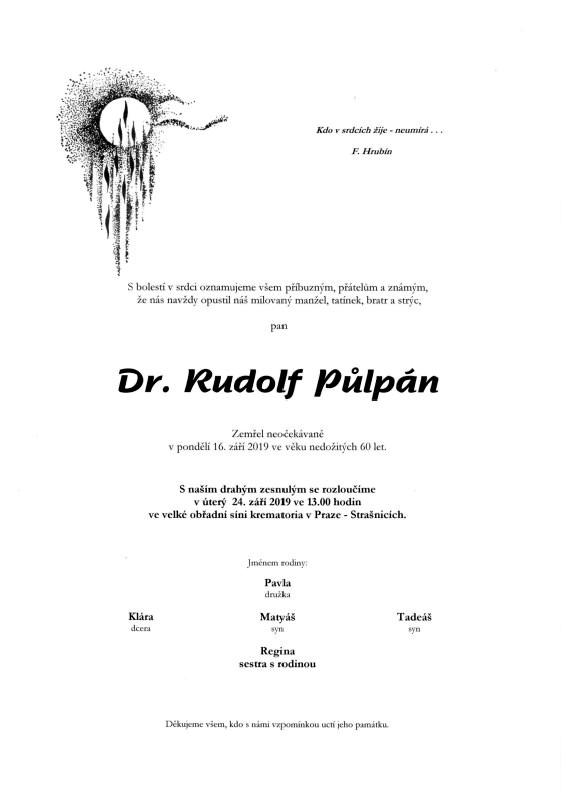 PhDr. Rudolf Půlpám parte
